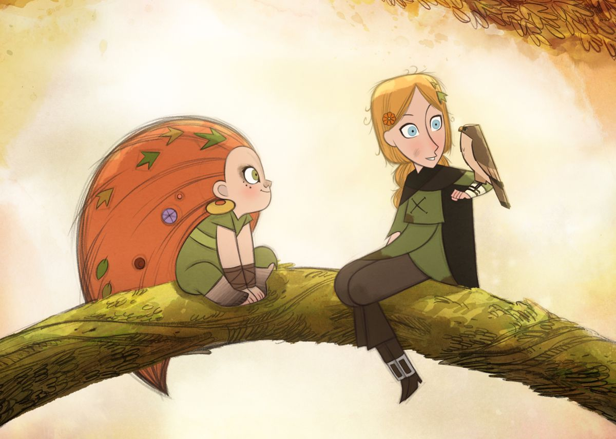 two girls sit on a branch