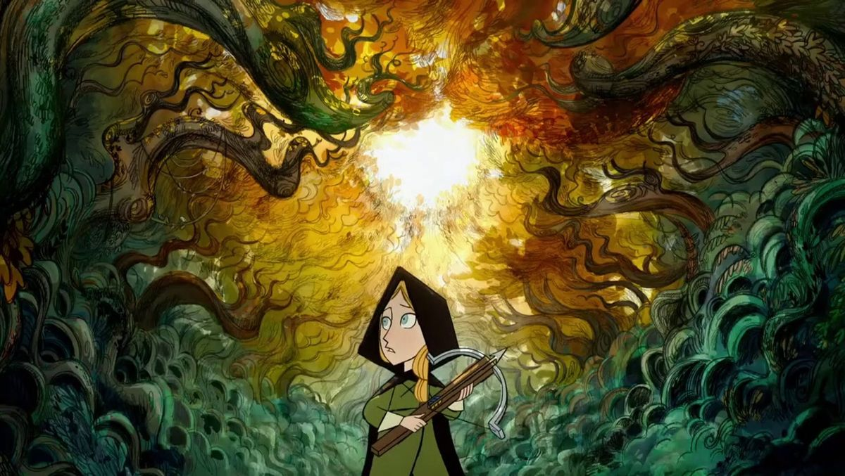 a girl wanders through the forest in the animated film Wolfwalkers