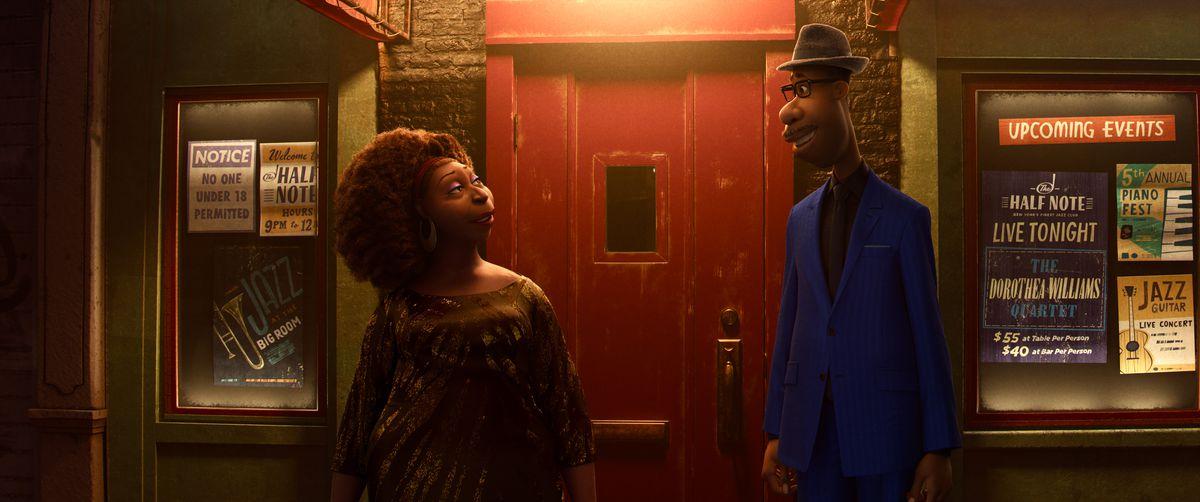 Soul protagonist Joe faces bandleader Dorothea outside a club