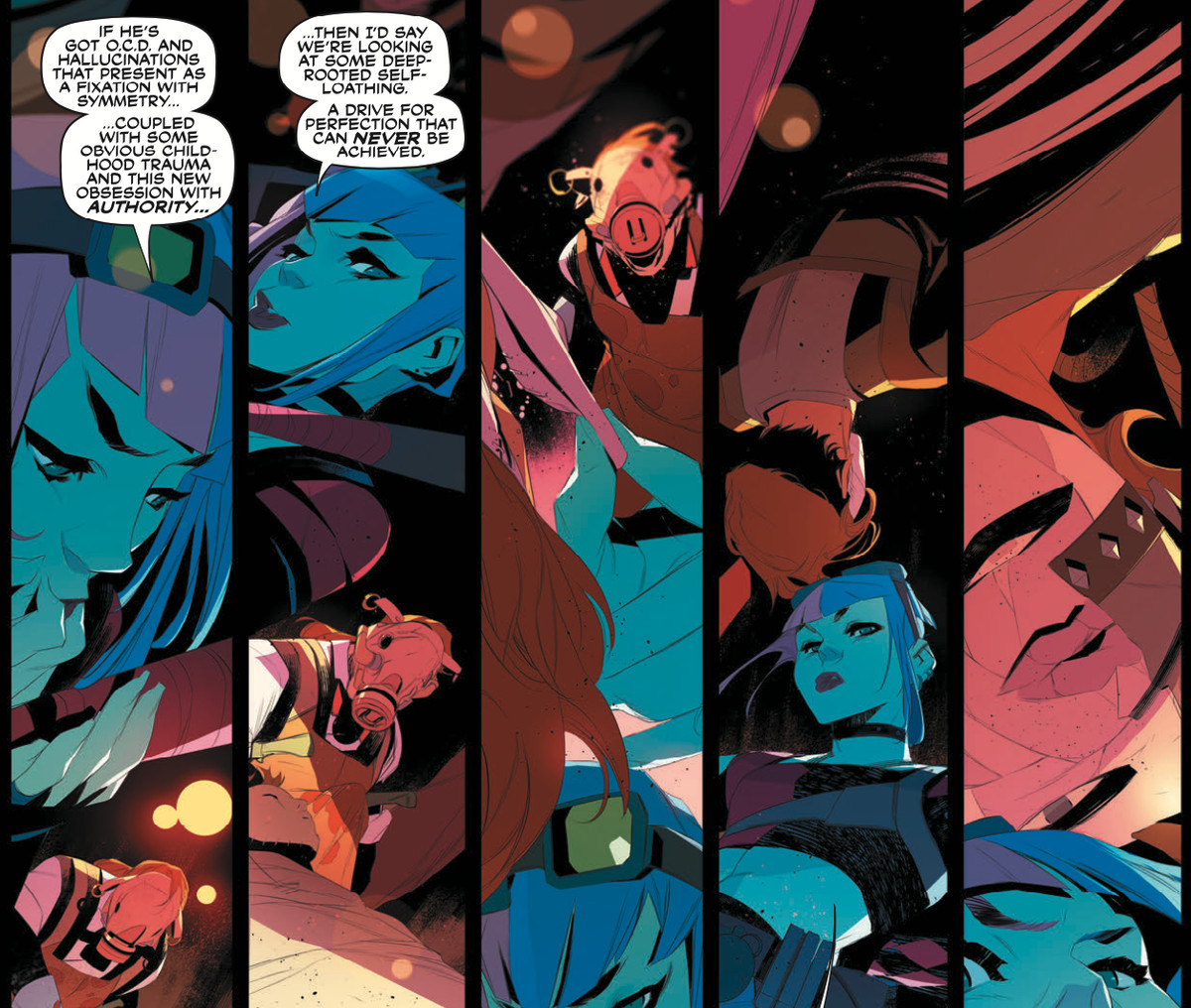 Panels of Harley Quinn talking to a man in a pig mask