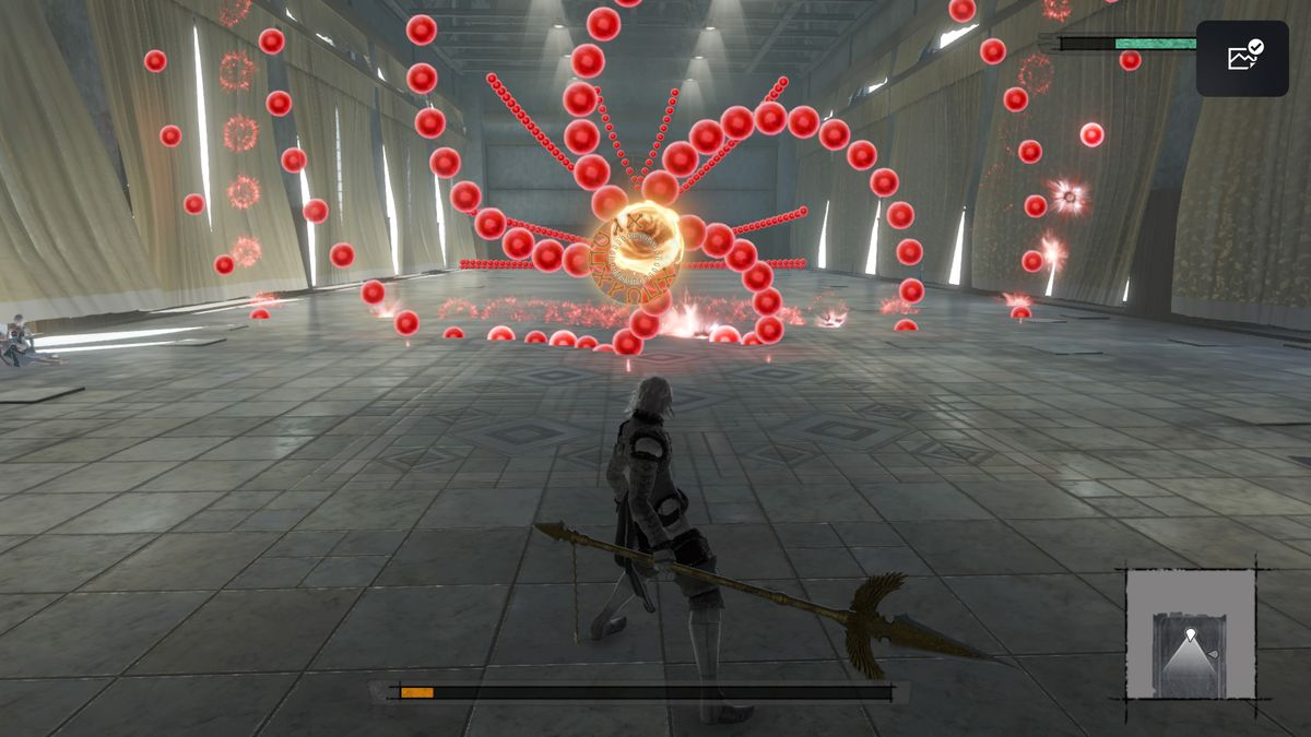 Nier enters a bullet-hell dungeon in Nier Replicant.