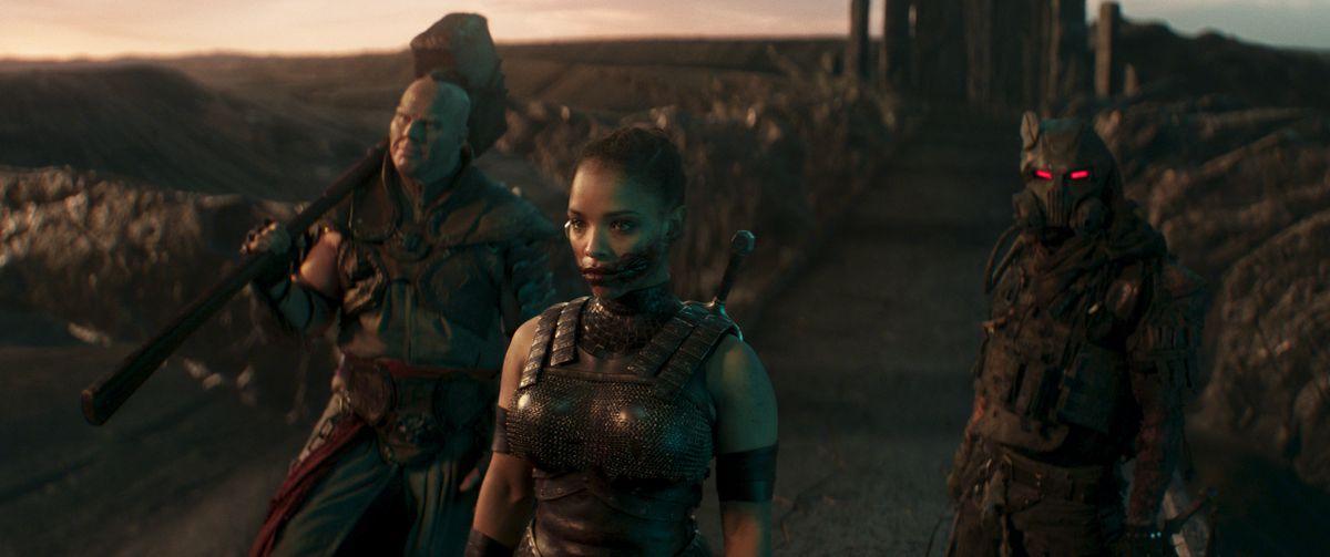 Nathan Jones as Reiko, Sisi Stringer as Mileena, and Daniel Nelson as Kabal in Mortal Kombat