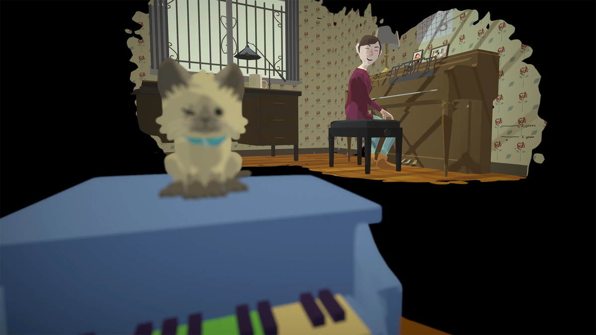A stray kitten watches you play a small piano in Behind Your Eyes