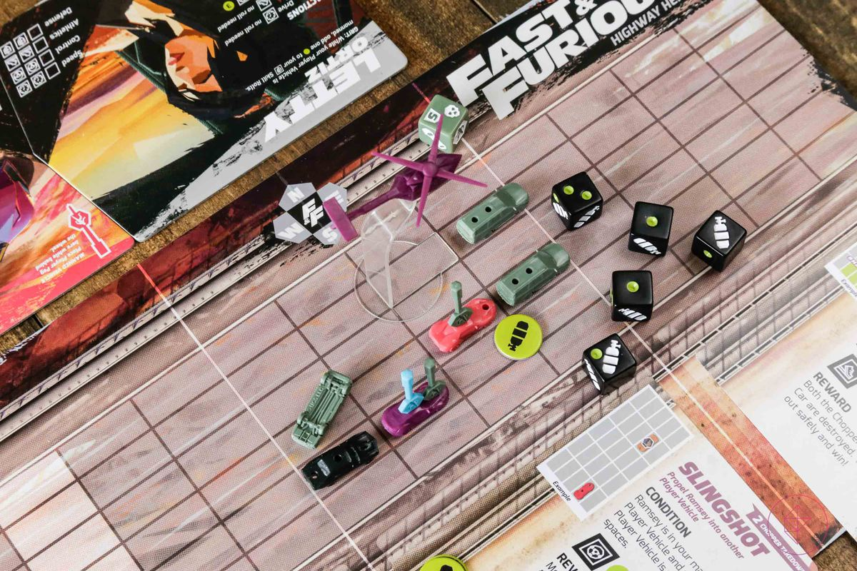 A helicopter looms overhead in a game of Fast & Furious: Highway Heist.
