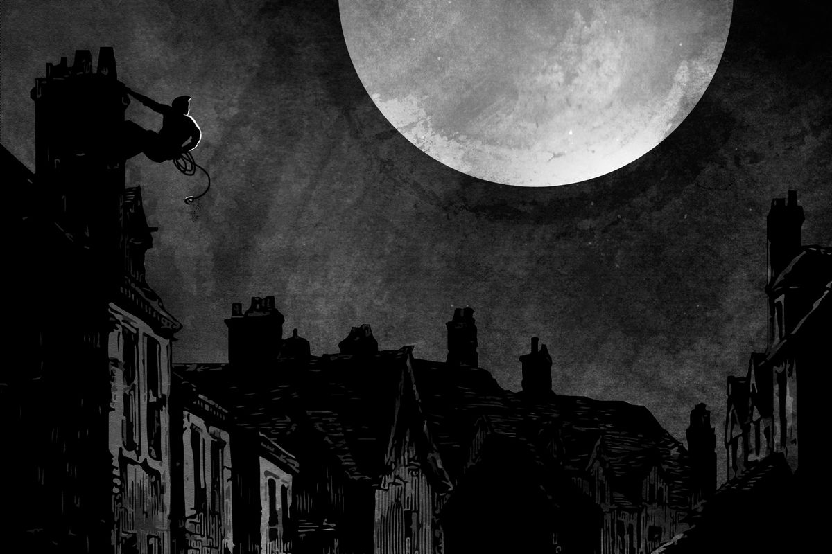 On a moonlit night, a thief clings to the side of a building on a canal