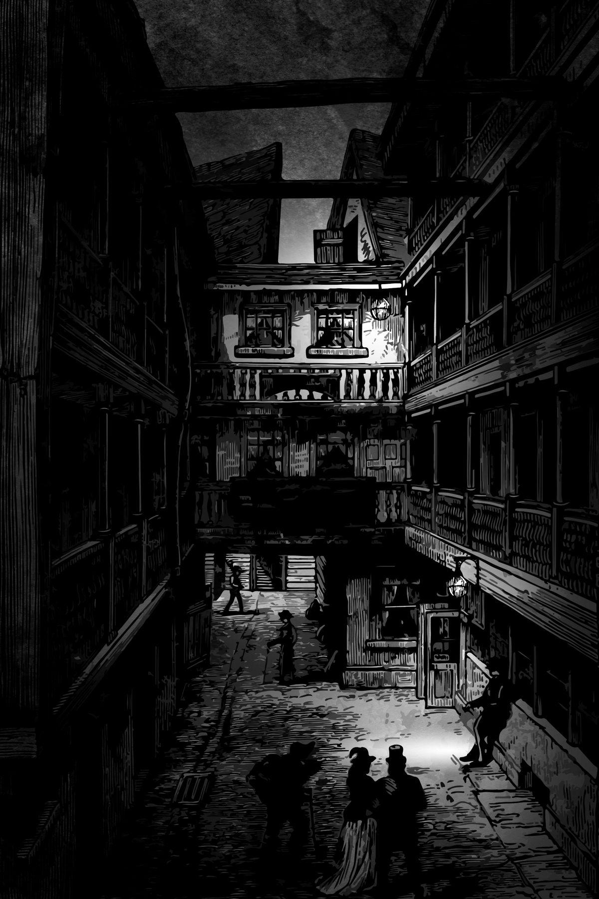 A narrow street at dusk, lit by two wan gas lamps. Frocked people dot the street below.