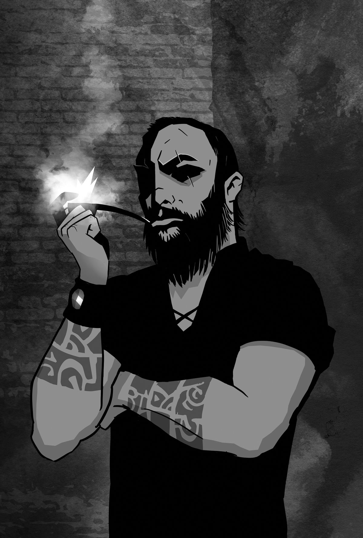 A man with tattoos on both wrists smokes a pipe.