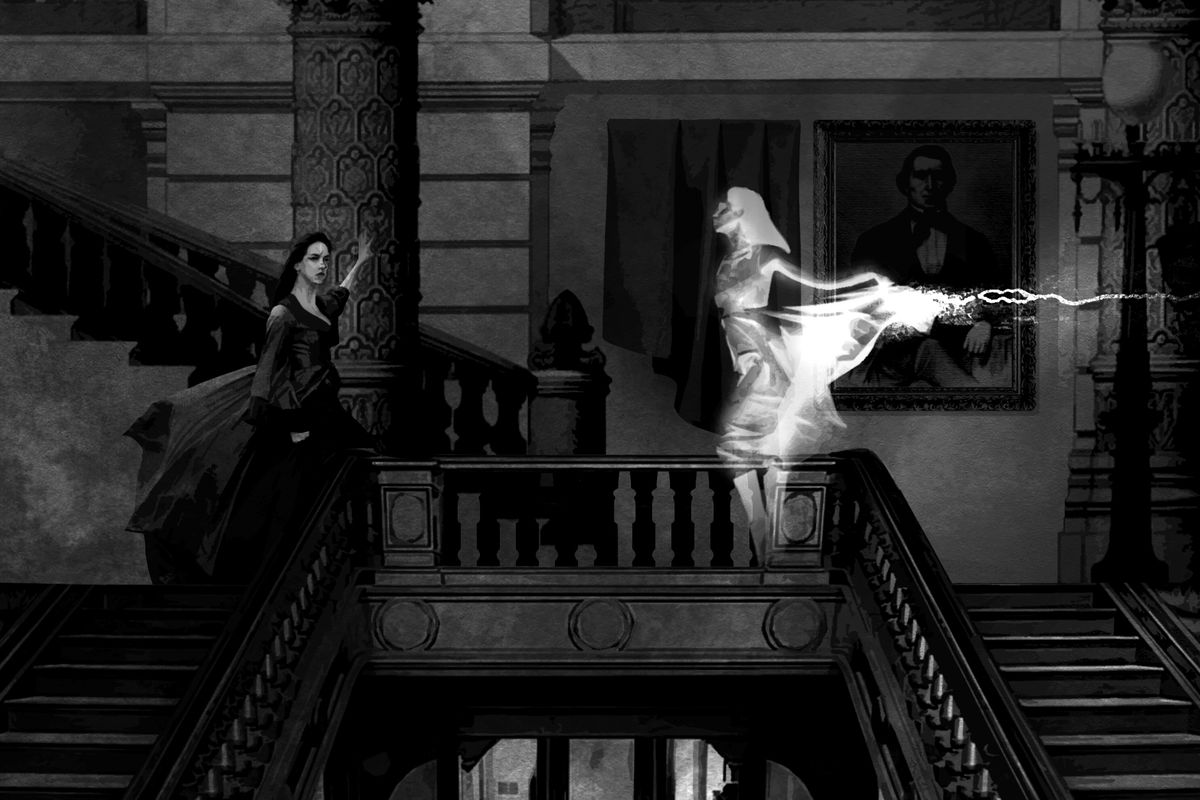 An apparition appears inside the stairwell of a well-appointed theater house. A woman looks aghast.