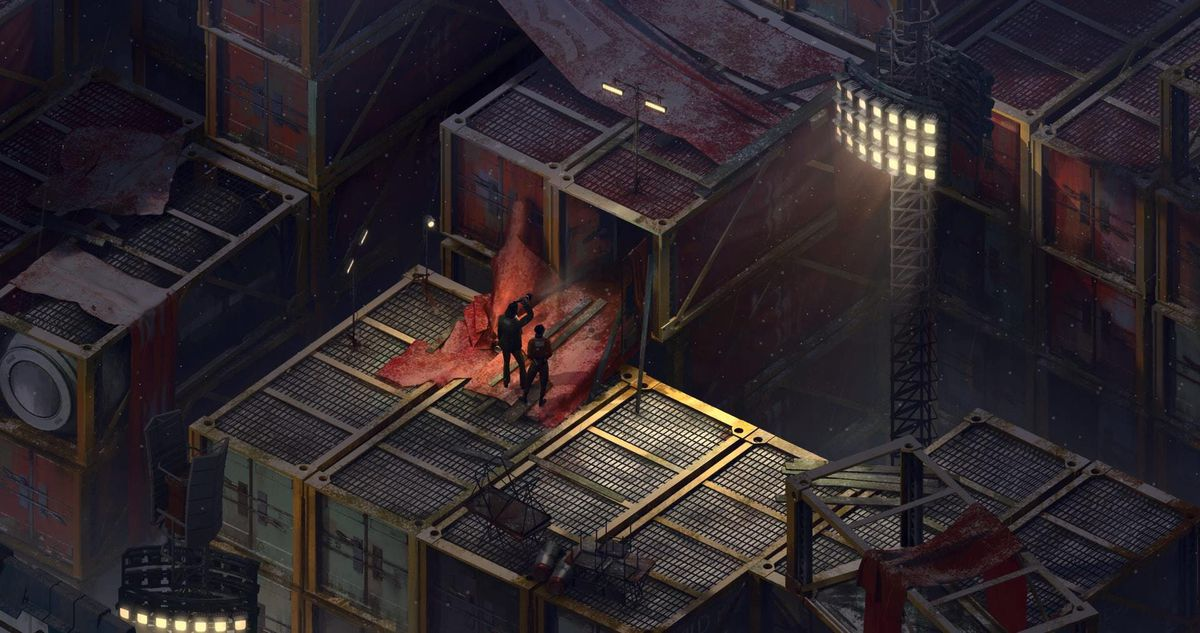 Harry and Kim explore the interior of a compartment together in Disco Elysium