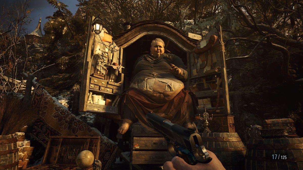 The Duke, the weapons dealer in Resident Evil Village, bursting out a door full of wares.