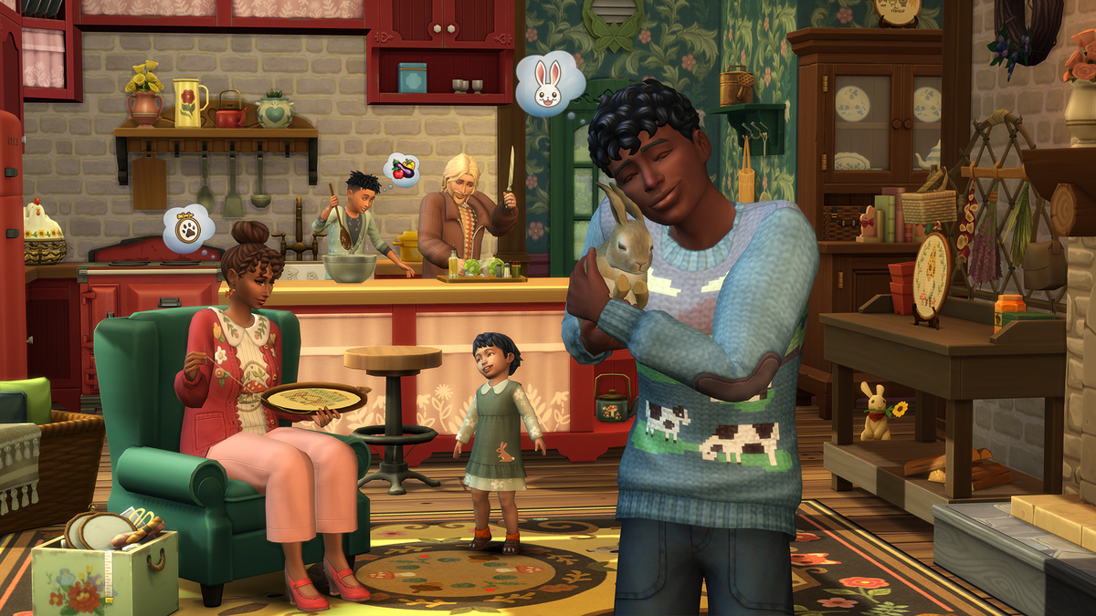 a person holding a bunny in front of a family doing inside activities
