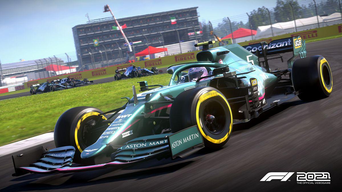Sebastian Vettel for Aston Martin at the team's home track, Silverstone