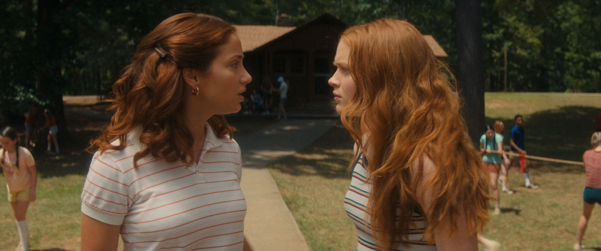 """Emily Rudd and Sadie Sink as Cindy and """"Ziggy"""" Berman in Fear Street Part Two: 1978"""