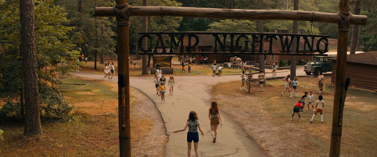 An establishing shot of Camp Nightwing, the setting of Fear Street Part Two: 1978