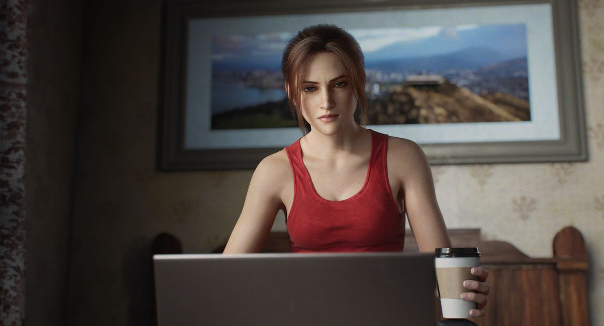 Claire Redfield sits behind a laptop with some java in the Netflix animated miniseries Resident Evil: Infinite Darkness