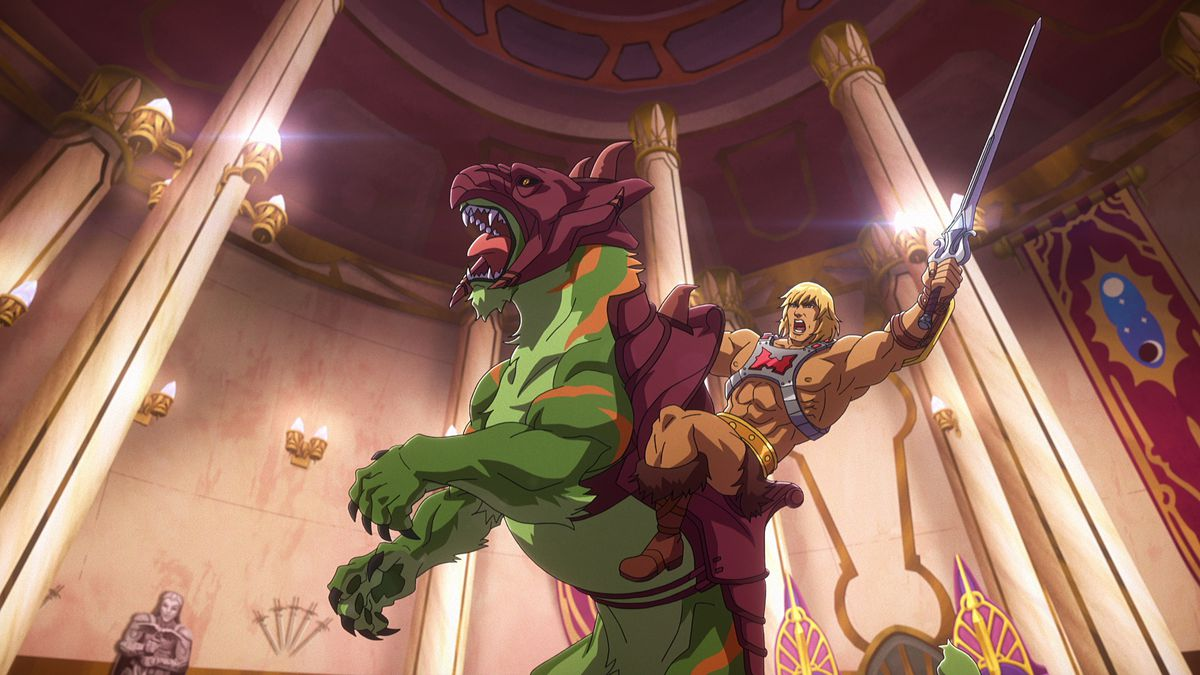 He-Man waves his sword and shouts while atop a rearing Battle-Cat in Masters of the Universe: Revelation