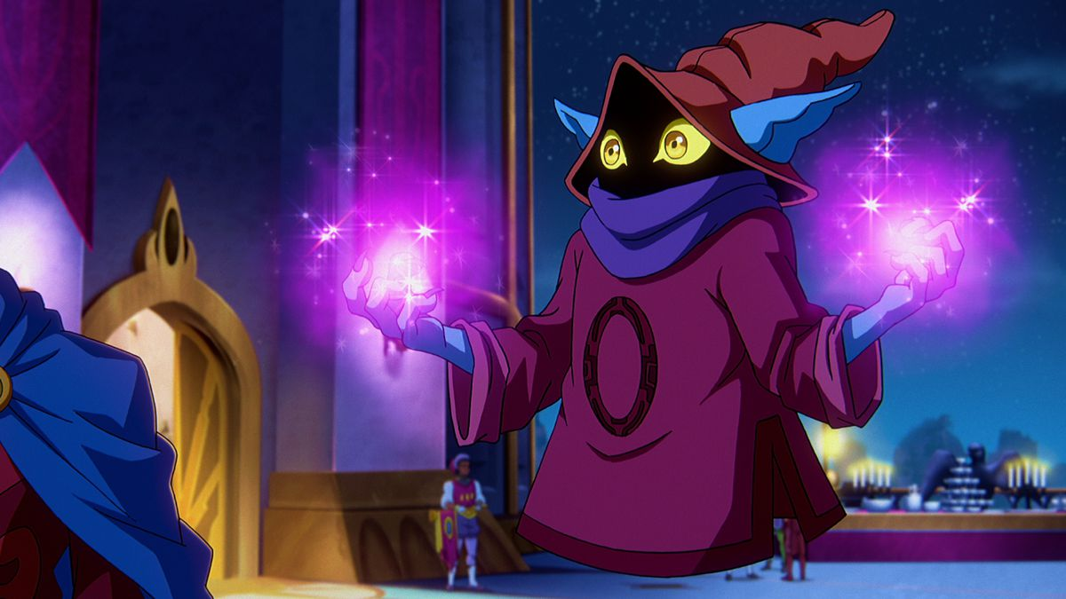 Orko, with glowing and sparkling pink hands, in Masters of the Universe: Revelation
