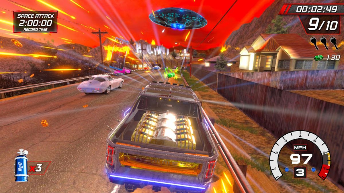 In Cruis'n Blast, a truck barrel through Los Angeles, escaping a UFO attack.