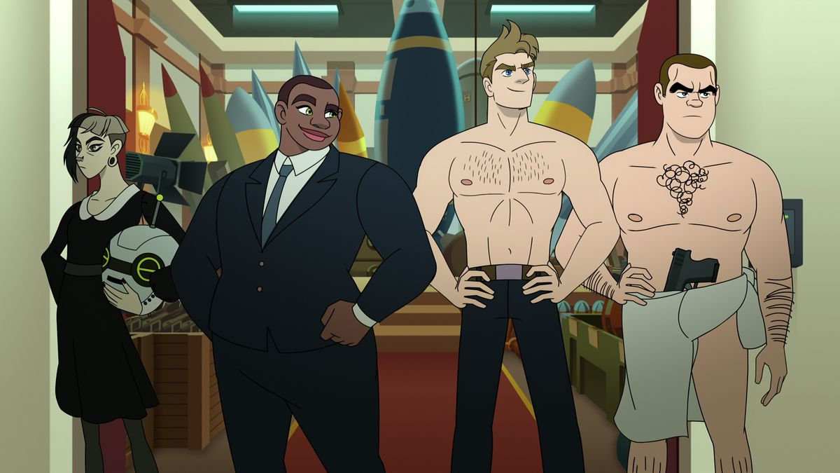 Four characters from Netflix's animated spy series Q-Force —two severely suited women, a shirtless man, and a mostly naked man with a shirt tied to cover his crotch —pose in super-group mode