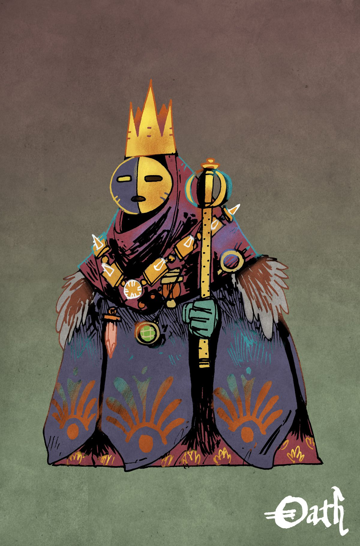 A masked humanoid holding a scepter, dressed in massive robs that otherwise hid its true form.
