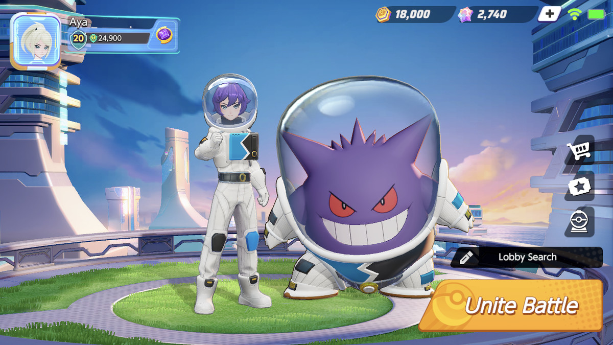 a trainer and genera both dressed up in spacesuits in pokemon unite
