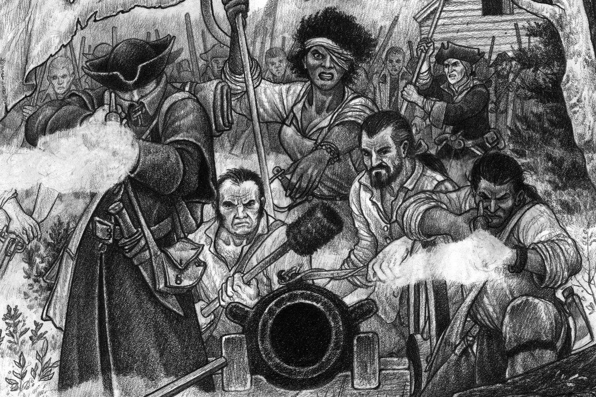 A team of Rebels behind a log barricade readies an artillery piece.