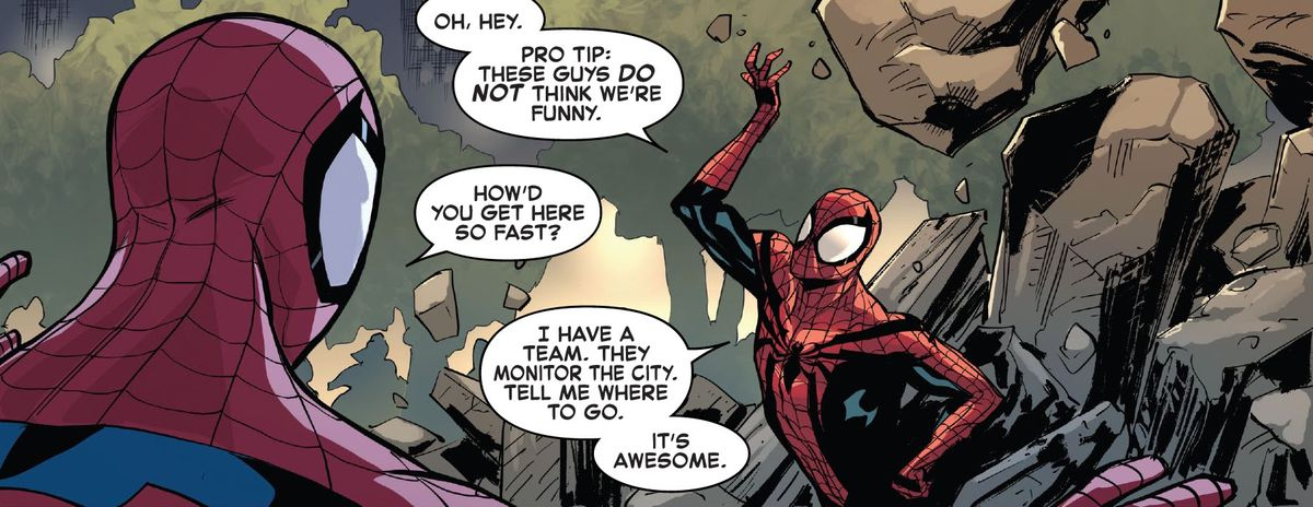 """""""How'd you get here so fast?"""" asks Peter Parker Spider-Man of  Ben Reilly Spider-Man. """"I have a team,"""" he replies, while shrugging off some heavy debris. """"They monitor the city. Tell me where to go. It's awesome."""" In The Amazing Spider-Man #75 (2021)."""