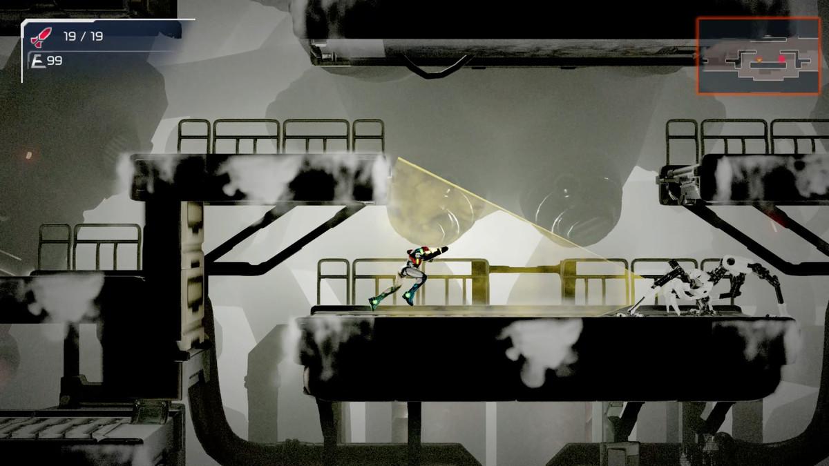 Samus flees one of Metroid Dread's EMMII robots