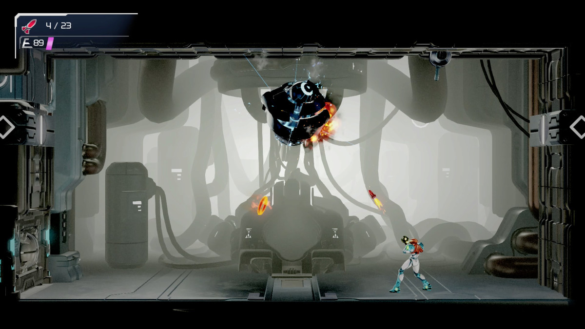 Samus uses the 360-degree aiming mode to fire a missile in Metroid Dread