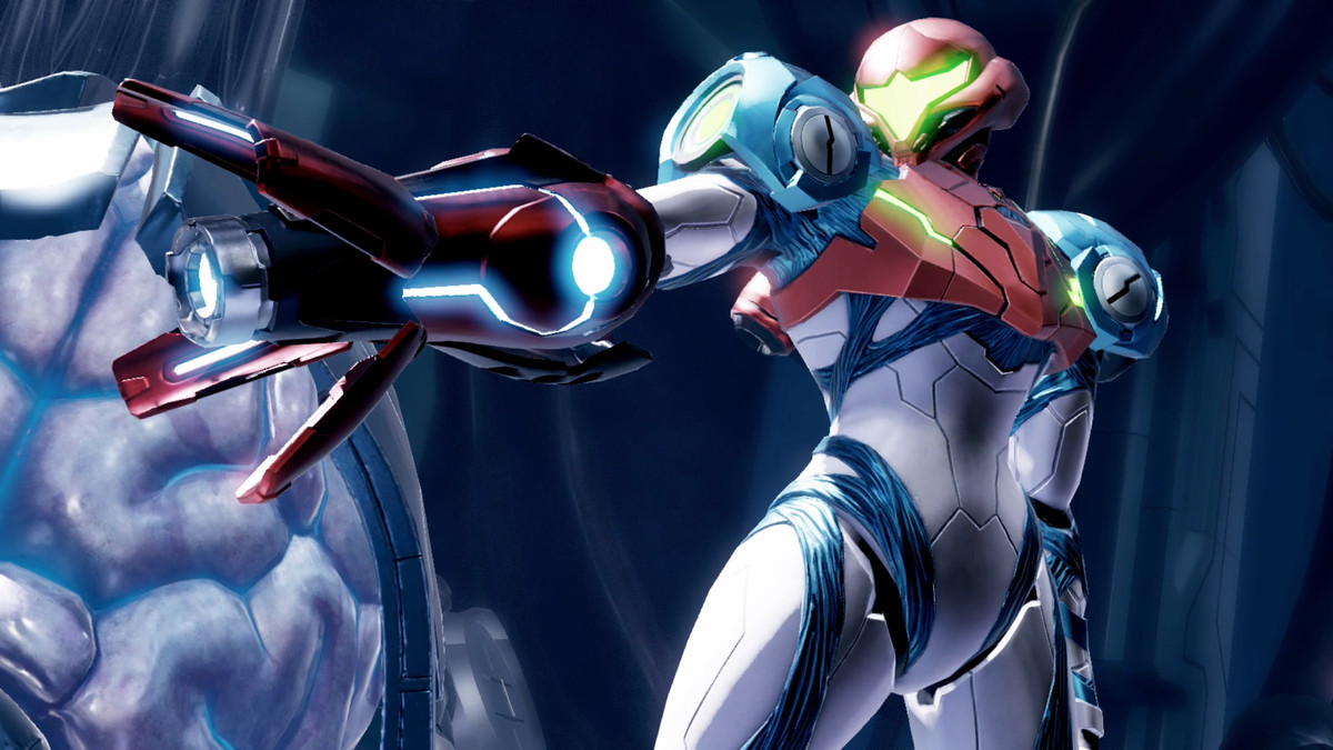 Samus charges up a new weapon in Metroid Dread