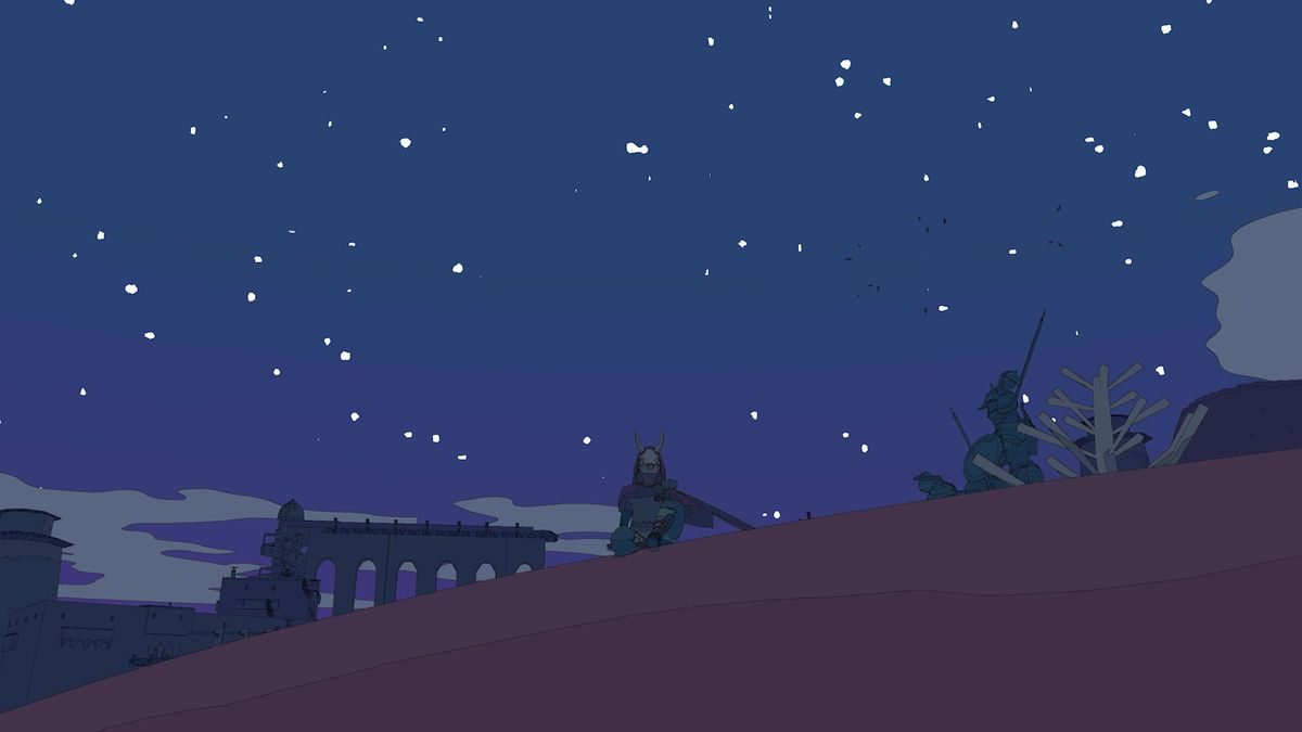 Sable sitting on a hill with a starry night in the background